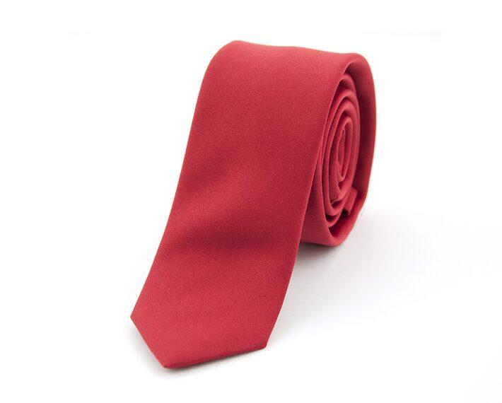 Rode stropdas polyester smal