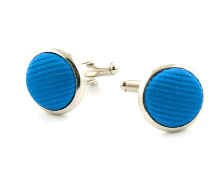 Manchetknopen zijde inleg Azuurblauw